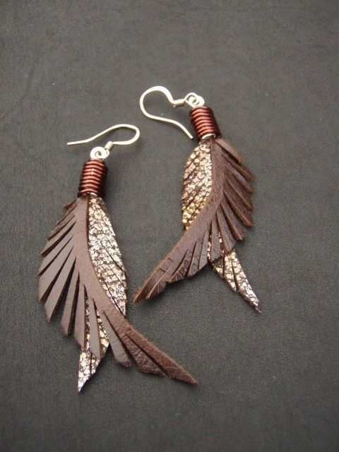 Metal Feather Earings by Cyclona Designs