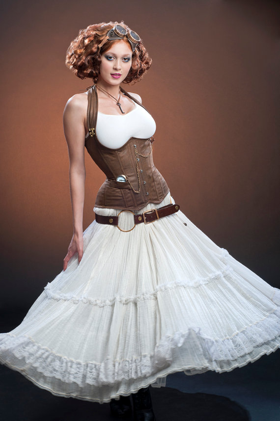 steampunk vegal leather corset timepiece flowy white dress