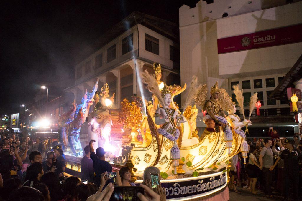 parade float at Yee Peng, Loy Krathong Lantern Festival